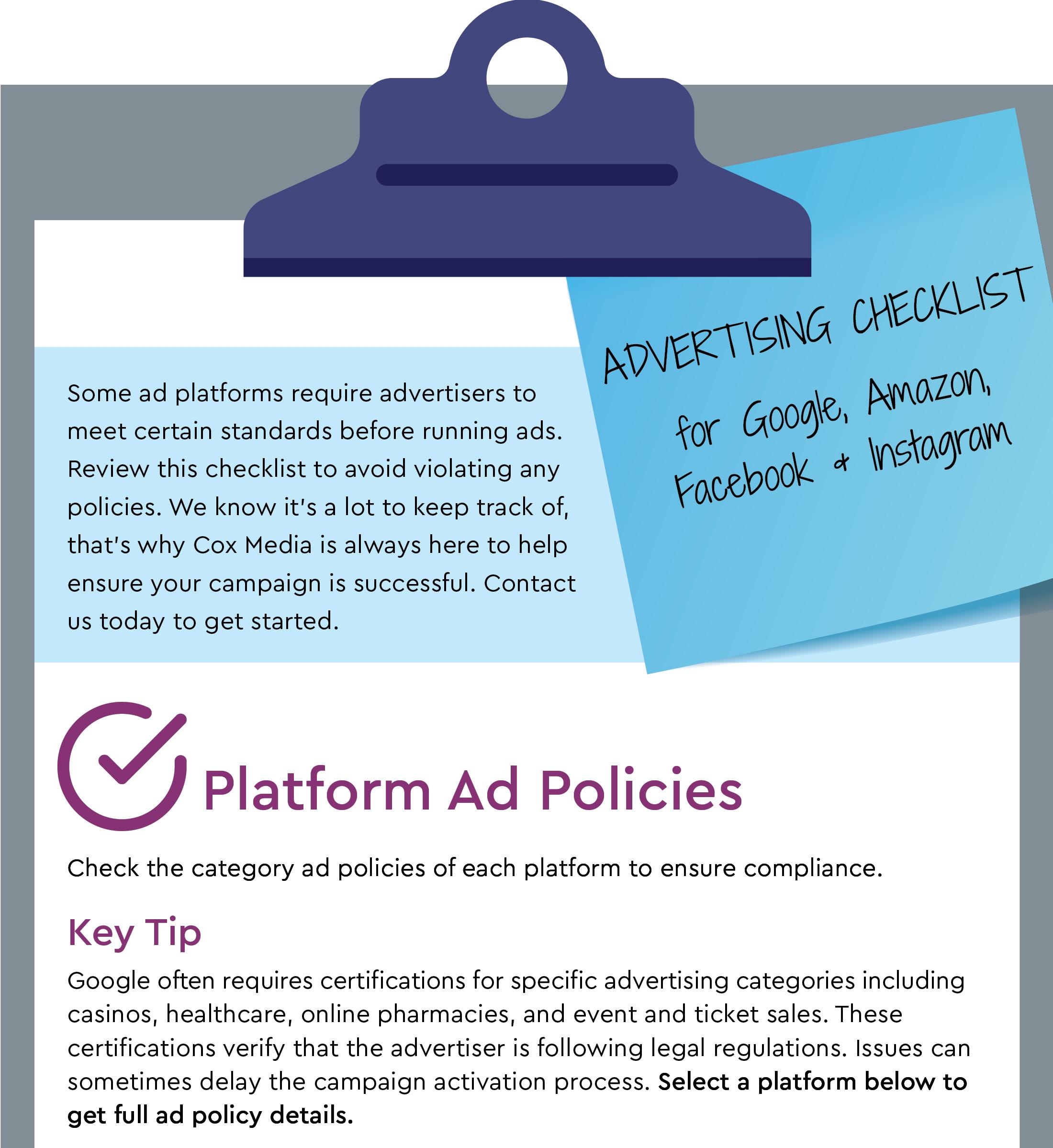 Your Advertising Checklist for Google, Amazon, Facebook & Instagram